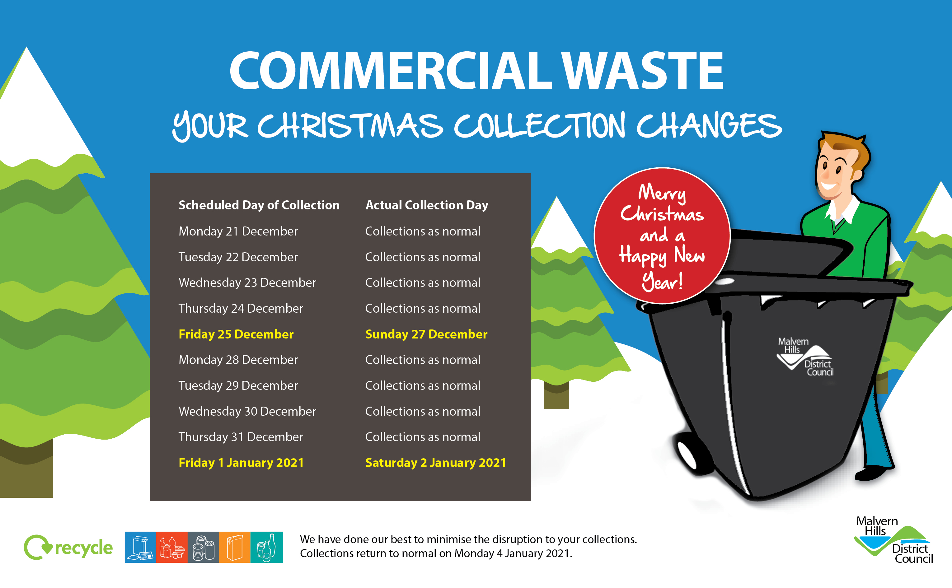 Commercial waste collection christmas banner