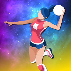 illustration of girl playing netball