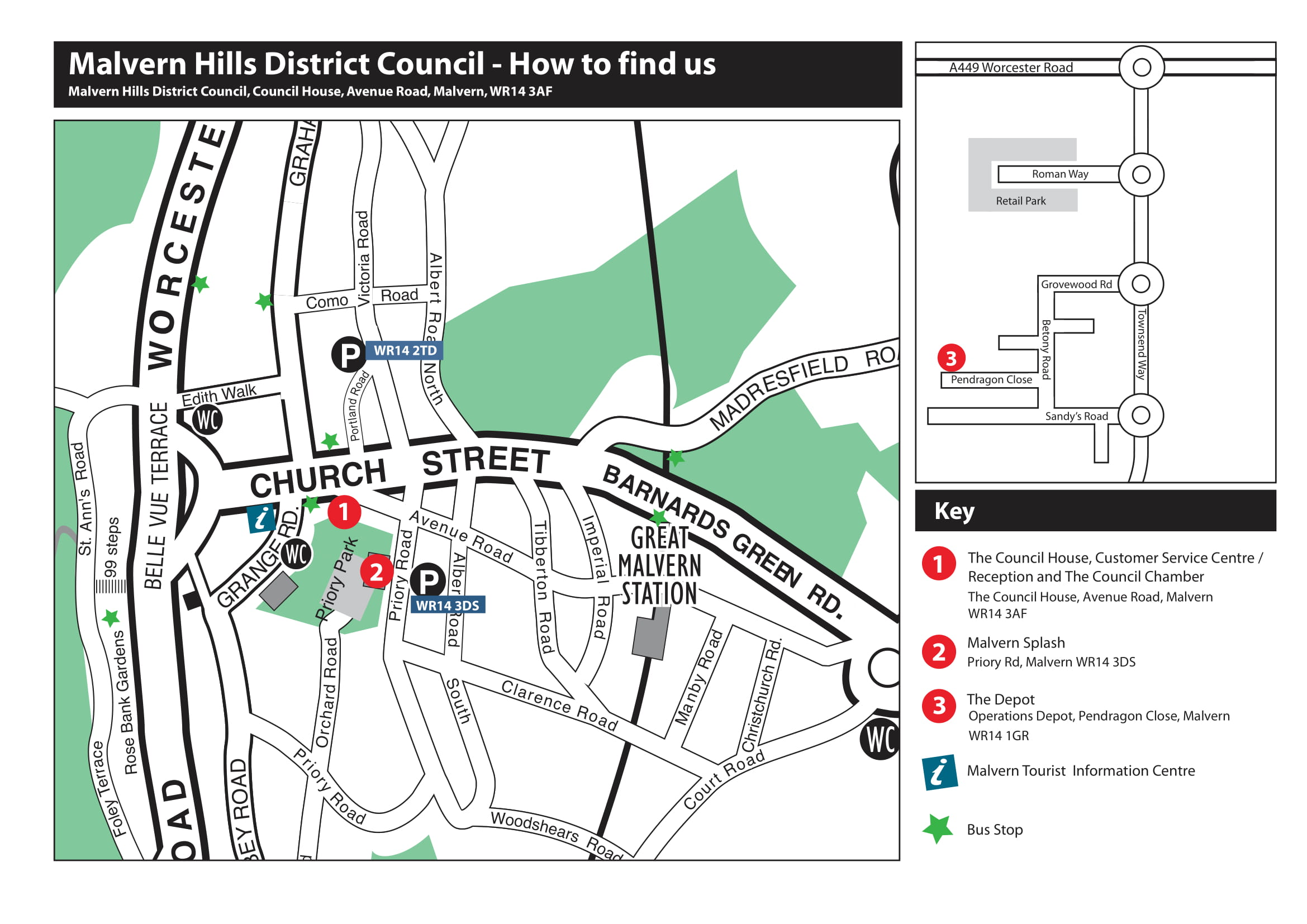 Malvern Hills District Council Travel map - how to find us