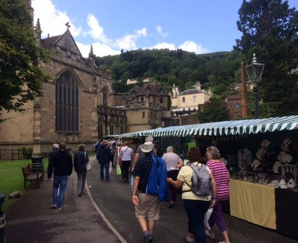 Pictured: A previous Malvern Arts Market held in the grounds of Great Malvern Priory.